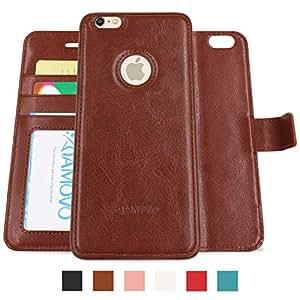 amovo iphone 6s plus 手机壳 iPhone 6Plus 钱包式保护套 [ 完美贴合 ] Apple iphone 6s plus 皮革保护套带折叠支架身份证和信用卡口袋 棕色 iPhone 6 Plus/6s Plus case