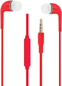 未知耳机,红色,高品质,音频,入耳式硅胶,非常舒适,隔音,带音量调节器和麦克风适用于 LG Pen 5