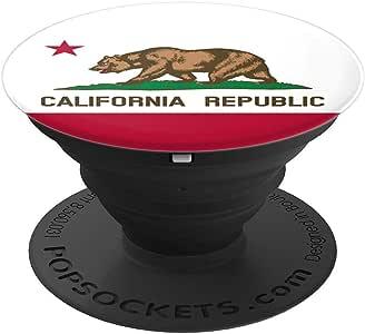 加利福尼亚州旗 CA 纪念品 - PopSockets 手机和平板电脑握架260027  黑色