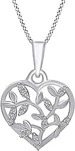 白色天然钻石橄榄叶心形吊坠项链 14K 镀金纯银女式 45.72 厘米项链(0.05 克拉,I-J 色,I2-I3 净度)