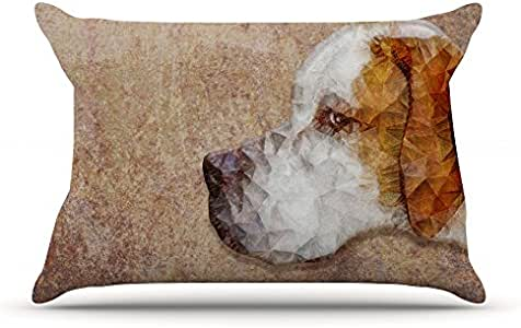 """Kess InHouse Ancello """"Abstract Beagle"""" Brown Geometric Pillowcase, 36 by 20-Inch"""