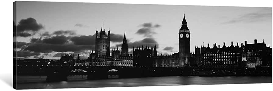 iCanvasART PIM6595bw-1PC3 Buildings Lit up at Dusk, Big Ben, Houses of Parliament, Thames River, City of Westminster, London, England 'Black and White' Canvas Print by Panoramic Images, 0.75 by 48 by 16-Inch