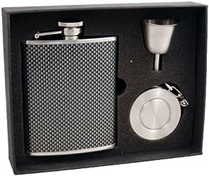 "Visol ""Vortex"" Carbon Fiber Pattern Stainless Steel Stellar Flask Gift Set, 6-Ounce"