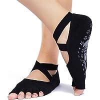 Jenbou 瑜伽袜防滑女士无趾粘性防滑半脚趾,普拉提,芭蕾,芭蕾,精梳棉