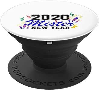 2020 Mister 新年快乐新年礼物送给孩子男孩 PopSockets 手机和平板电脑握架260027  黑色