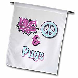 blonde Designs 动物 LOVE 和平与 pastels–LOVE PEACE and pugs 蓝色和紫色–旗帜 12 x 18 inch Garden Flag