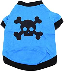 SMALLLEE_LUCKY_STORE 骷髅头图案 T 恤,小号,蓝色