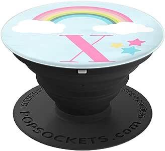 可爱彩虹粉粉粉彩 Monogram with Letter X - PopSockets 手机和平板电脑握架260027  黑色