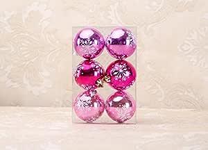 SPARIK ENJOY 11 ct 哑光热防碎圣诞球装饰品 2.36 英寸(60 毫米)雪花图案圣诞树吊坠饰品球 Snowflake Pink SPE-0576