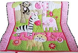 WINLIFE 婴儿床床上用品套装 适合男孩和婴儿床被 83.82 厘米 x 106.68 厘米婴儿床 粉红色 33''x42'' mk1474