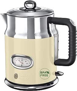 Russell Hobbs 英国领豪 电水壶 1.7L 2400W 速热功能 复古式显温 壶容标记 人性化壶嘴 老式茶壶 21672-70,复古淡黄