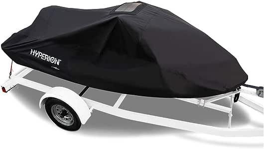 Hyperion 通用个人船只罩:防水防风雨 PWC 罩,内置太阳能充电器 - 通用PWC 罩,适用于 2 或 3 座车型,*大 134 x 63 x 36 英寸 - HYP-PWC-U Universal HYP-PWC-U