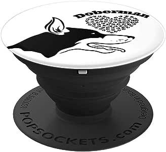 Doberman Pinscher 趣味礼物,适合爱狗人士和平板电脑的 PopSockets 抓握和支架260027  黑色