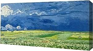 "PrintArt GW-POD-49-2VG1541-20x10""小云下的小麦场""文森特 画廊包边艺术微喷油画艺术印刷品,50.80cm x 25.40cm"