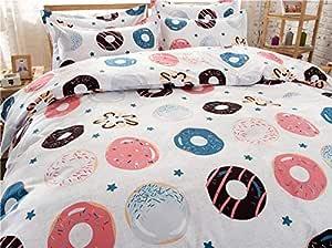 """4 件套床上用品套装被罩,无被子床单枕套 单人床全大号甜甜甜甜甜甜甜甜甜甜甜甜甜甜甜甜甜甜甜圈设计粉色儿童 Sweet Donuts, Pink Queen, 78""""x91"""" 43235-107480"""