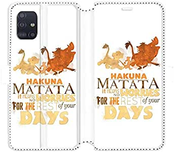 Cokitec RV 皮革钱包手机套适用于三星 Galaxy A51 狮子王 Hakuna Matata 白色