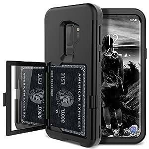 S9 Plus 钱包式手机壳 - WeLoveCase 保护套钱包设计带隐藏背镜和卡包重型保护防震 3 合 1 全圆形装甲保护套适用于三星 Galaxy S9 Plus 黑色