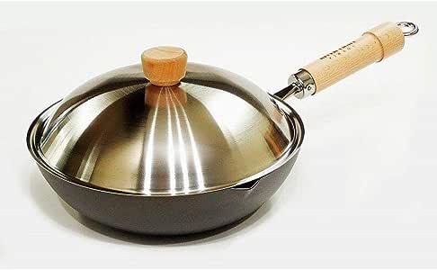 Riverlight 极 Japan 炒锅套装 银色 24cm 带炒锅锅盖 中式料理锅 日本制造