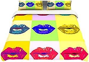 "Kess InHouse Oriana Cordero""Pop Kiss""彩虹嘴女王棉羽绒被,223.52 x 22.86 厘米"
