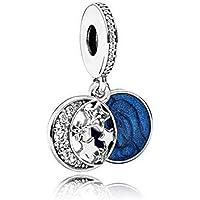 Romántico Amor 复古夜空吊坠魅力闪烁星星月亮银色珠子适合潘多拉手链