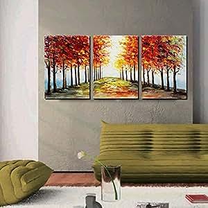 artland 手绘24x 15.24cm ' 红色 ' 季3件套无框风景帆布油画墙壁艺术集