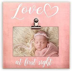 Paishanas Love at First Sight 婴儿相框 | 超声波相框 | 怀孕宣告 | 性别显示| 粉色 | 20.32 厘米 x 20.32 厘米 | 声波相框