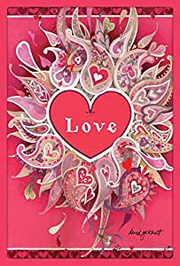 Toland Home Garden Love Petals 28 x 40 Inch Decorative Valentine Paisley Heart House Flag
