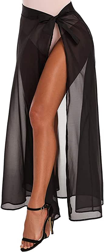 XAKALAKA 女式高腰垂直条纹超长裙带口袋