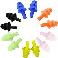 Honbay 6 对可重复使用的硅胶游泳耳塞柔软有弹性的耳塞适合游泳、学习、听力保护、音乐会、飞机、射击等