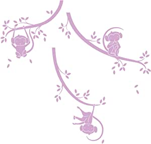 LittleLion Studio 048001010000000000000000 猴子树枝单色墙贴 淡紫色 048024042000000000000000