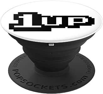 1 件视频游戏*生活 T 恤,街头复古像素设计 - PopSockets 手机和平板电脑抓握支架260027  黑色