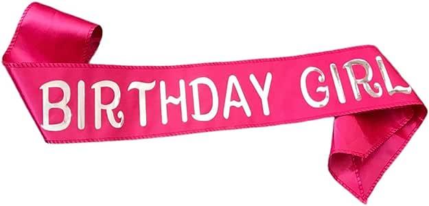 KEPATO 生日女孩腰带银色闪光缎面腰带 - 生日快乐派对礼品、用品和装饰