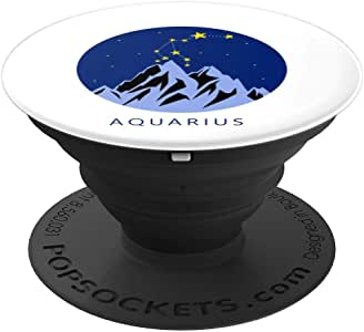 Aquarius 标志复古星星星座星座星座符号礼物波震动器座和支架适用于手机和平板电脑260027  黑色