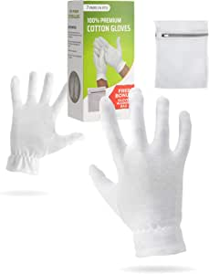 保湿手套夜间*棉 | 化妆检查优质面料 | *干燥敏感性刺激皮肤 SPA **腕带