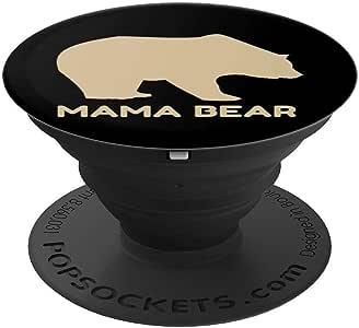 Mama Bear 趣味母亲节礼物 PopSockets 手机和平板电脑握架260027  黑色