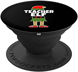 I Just Like Teaching, Favorite Christmas Holiday Teacher Elf PopSockets 手机和平板电脑握架260027  黑色