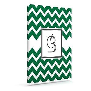 Kess InHouse KESS 原创交织字母 V 形图案绿色字母 B 户外帆布墙壁艺术,20.32 x 25.40 厘米