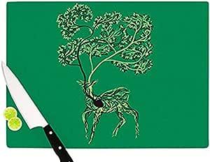 "Kess InHouse ""Nectar"" Tobe Fonseca 玻璃砧板,绿色鹿 Green Deer 11 by 7.5"" TF2004ACB01"