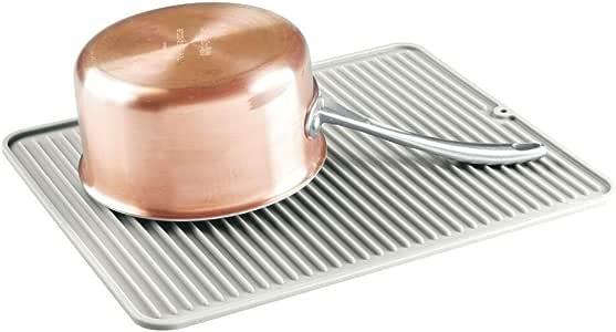 mDesign 硅胶碗碟干燥垫和保护器适用于厨房台面、水槽- 罗纹设计 - 防滑、防水、耐热、可用洗碗机清洗 - 大号 石色 1包 09035MDK