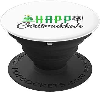 Happy Chrismukkah 趣味 jew-ish Hanukkah 圣诞礼物 PopSockets 手机和平板电脑握架260027  黑色