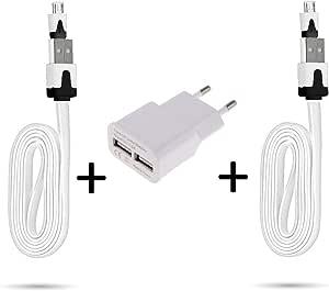 适用于 LG K11 智能手机 Micro-USB (2 根充电线,充电器 Noodle + 双 USB )安卓(白色)