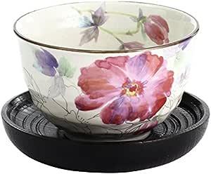 花朵 12个月大碗 牡丹 碗(φ10.7×h6.7cm) 茶托(φ12.5×h2.5cm) -