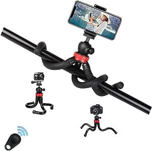 ESSOY 灵活手机和相机三脚架,带蓝牙遥控器和通用夹 360° 球头,兼容 iPhone/Samsung/Android 手机/DSLR Gopro 相机