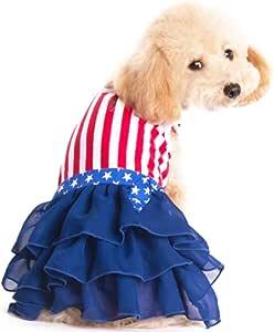 Delifur 美国国旗狗服装美国国旗风格宠物条纹连衣裙,适合独立日或阵亡将士纪念日 L