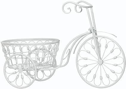 MD Group 花盆白色自行车设计大号户外庭院装饰植物陈列品