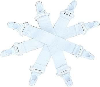 8 件装床单紧固件(抓扣)带塑料扣 - 吊袜带风格 - 适用于所有尺寸的床单、床垫垫和铁板套!