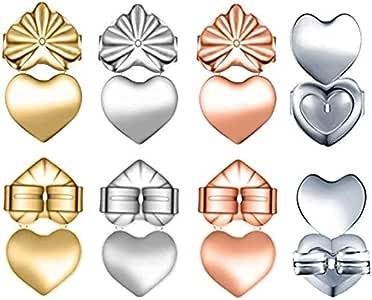 高级 4 对可调节防*耳环升降耳环,瞬间提升耳环背部,易于用于耳垂耳环(银色、金色和玫瑰金镀心形)