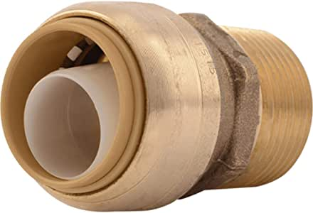 SharkBite U134LFA Straight Connector Plumbing Fitting, Male, 3/4 Inch by 3/4 Inch, MNPT, PEX Fittings, Push-to-Connect, Copper, CPVC