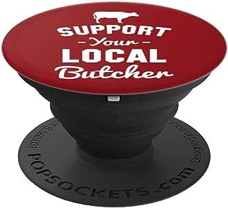 支持您当地的 Butcher 趣味 PopSockets 手机和平板电脑握架260027  黑色