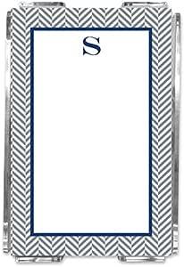 Boatman Geller AZNPA10-SI-W-A 亚克力人字纹单首字母便条床单 字母 D